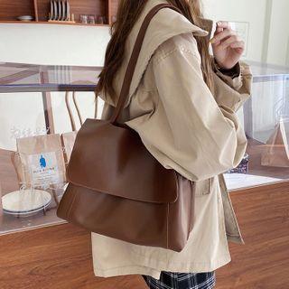 Plain Faux Leather Messenger Bag