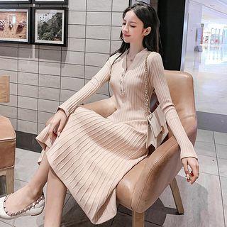 Buttoned A-line Midi Rib Knit Dress