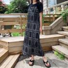 Tie-shoulder Patterned Dress