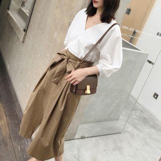 Set: Elbow-sleeve Blouse + Split-hem Midi A-line Skirt