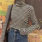 Striped Turtle-neck Long-sleeve Slim-fit Top