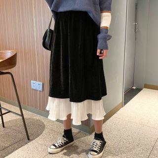 Paneled Midi Skirt Black - One Size
