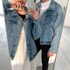 Couple Matching Denim Jacket Blue - One Size