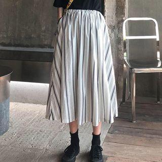 Striped A-line Midi Skirt As Shown In Figure - One Size