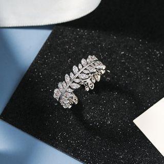 Rhinestone Leaf Open Ring 1 Pc - Rhinestone Leaf Open Ring - One Size