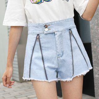 Zip Detail Denim Shorts
