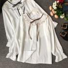 Long-sleeve Ruffle Trim Shirt