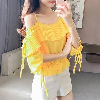 Pleated Trim Off Shoulder 3/4 Sleeve Chiffon Top