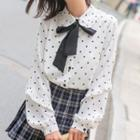 Bow Neck Dotted Shirt