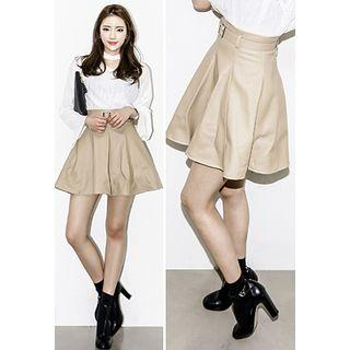 Faux-leather Mini Skirt With Belt