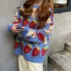 Strawberry Patterned Crewneck Sweater Gray Blue - One Size