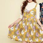 Sleeveless Pleated Floral Mini Dress