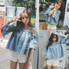 Cut-out Shoulder Denim Top