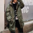 Padded Drawstring Hooded Long Jacket