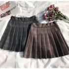 Plaid Pleated Mini Skirt Brown - One Size