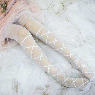 Bow Sheer Tights White - One Size