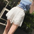 Lace Trim Pinstriped Wide Leg Shorts