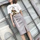 Set: Printed Tee + Plaid Skirt