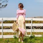 Ruffle-hem Flare Long Skirt