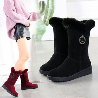 Furry Trim Mid-calf Wedge Boots