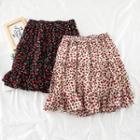 A-line Floral Chiffon Mini Skirt