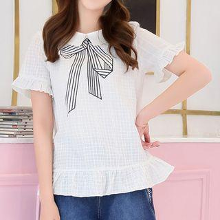 Bow Print Collared Short Sleeve T-shirt