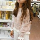 Pleated Trim Melange Sweater
