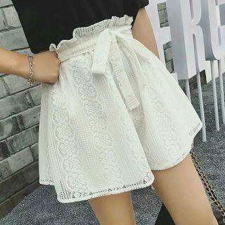 Crochet Lace Wide Leg Shorts