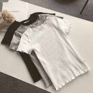 Short-sleeve Ruffle Trim T-shirt