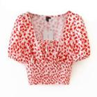 Balloon-sleeve Butterfly Print Cropped Blouse