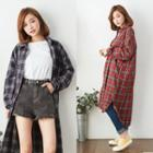 Drop Shoulder Plaid Long Shirt