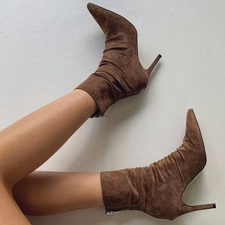 Pointy-toe Shirred Stiletto Booties