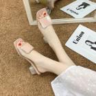 Buckle Chunky-heel Slide Sandals