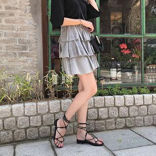 Band-waist Layered Miniskirt