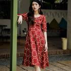 Elbow-sleeve Dotted Midi A-line Dress