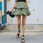Ruffle-tiered Cotton Miniskirt