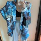 Double Breasted Tie Dye Blazer Blue - One Size