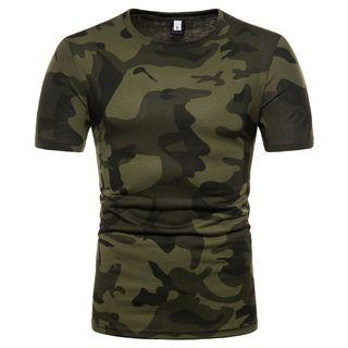 Camo Print Short-sleeve T-shirt