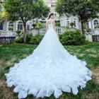 Sleeveless A-line Wedding Gown / Trained Wedding Gown