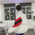 Lettering Color Block Padded Coat