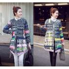 Printed Buttoned Padded Coat