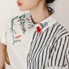 Embroidered Striped Panel Short-sleeve Shirt
