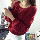 Puff Sleeve Cable-knit Chunky Sweater