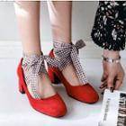 Chunky-heel Pumps With Plaid Strap