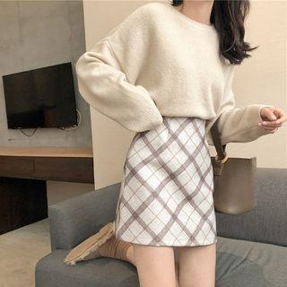Set: Crew-neck Sweater + Plaid A-line Skirt