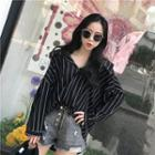 Striped Two-way Blouse