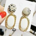 Snake Faux Leather Disc Alloy Hoop Dangle Earring 1 Pair - Gold - One Size