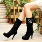 High Heel Rhinestone Mid Cuff Boots