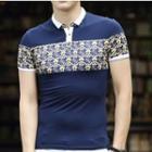 Patterned Panel Short Sleeve Polo Shirt