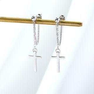 925 Sterling Silver Cross Chained Dangle Earring 1 Pair - Silver - One Size